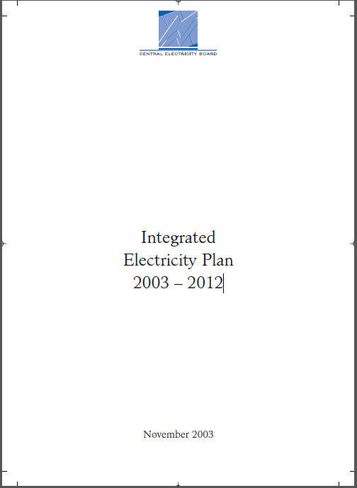 INTEGRATED ELECTRICITY PLAN 2003 – 2012